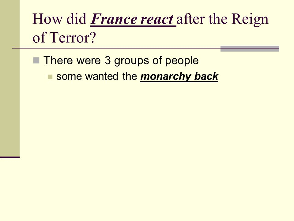 How did France react after the Reign of Terror