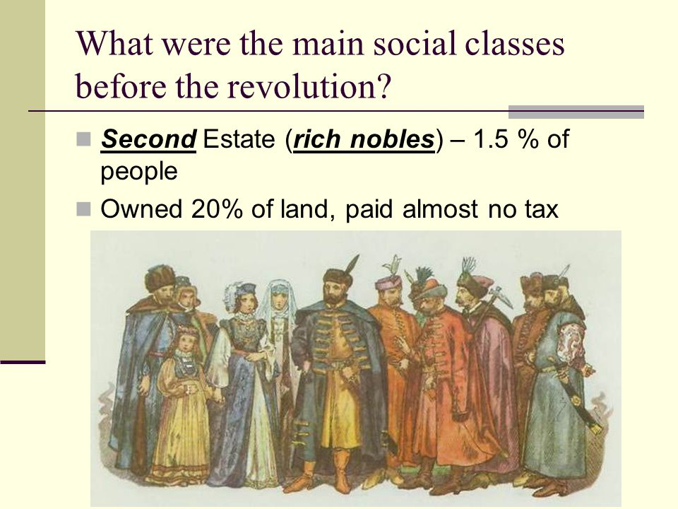 What were the main social classes before the revolution