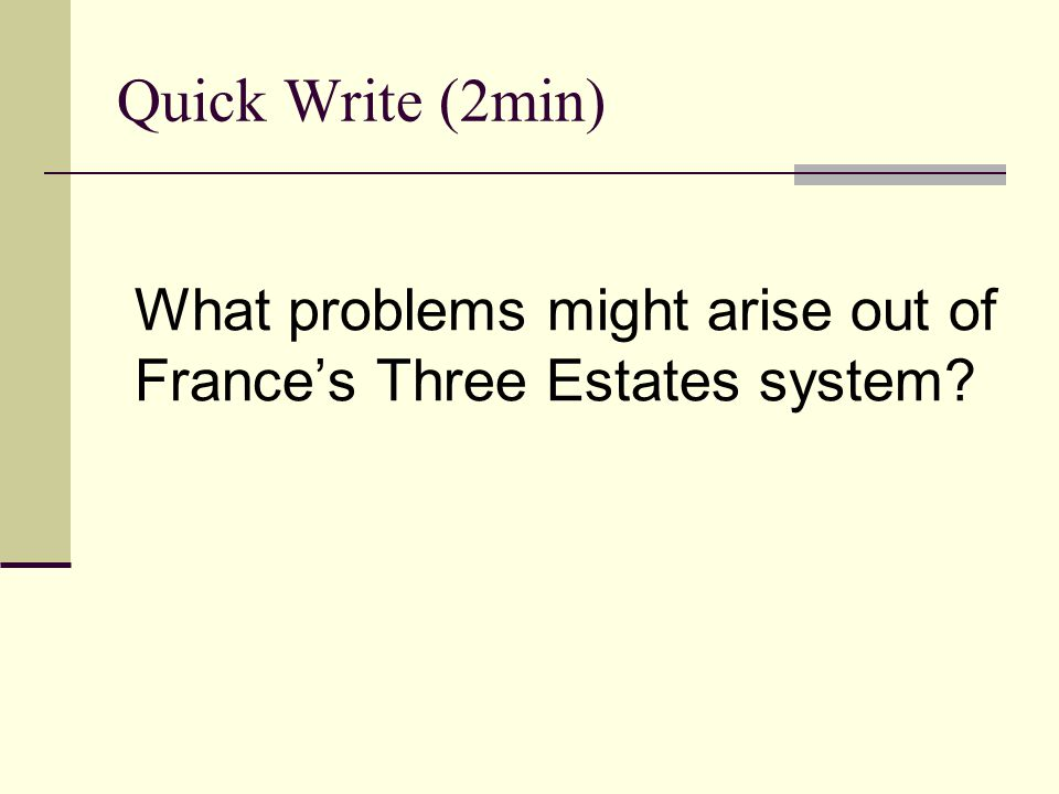 Quick Write (2min) What problems might arise out of France's Three Estates system