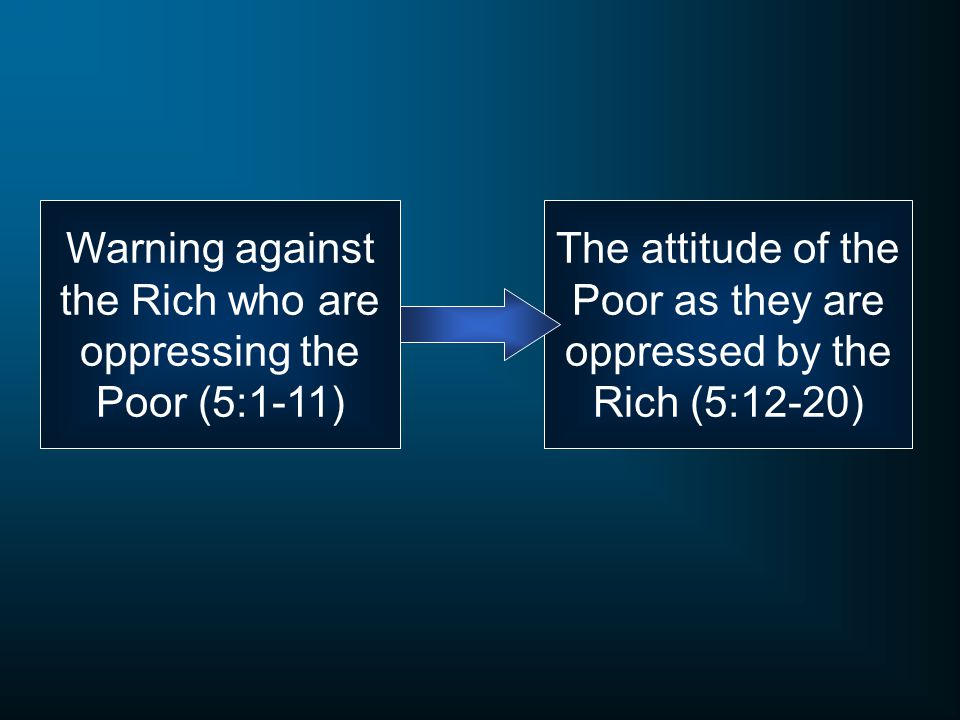 Warning against the Rich who are oppressing the Poor (5:1-11)