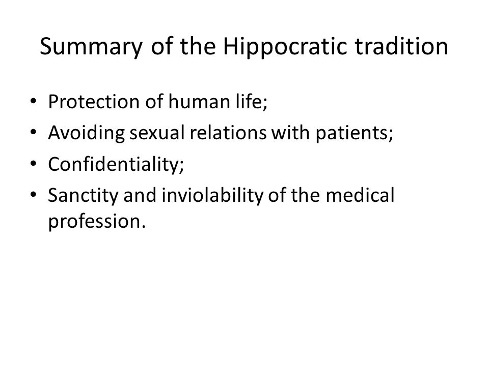 Summary of the Hippocratic tradition