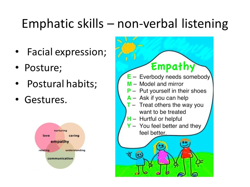 Emphatic skills – non-verbal listening