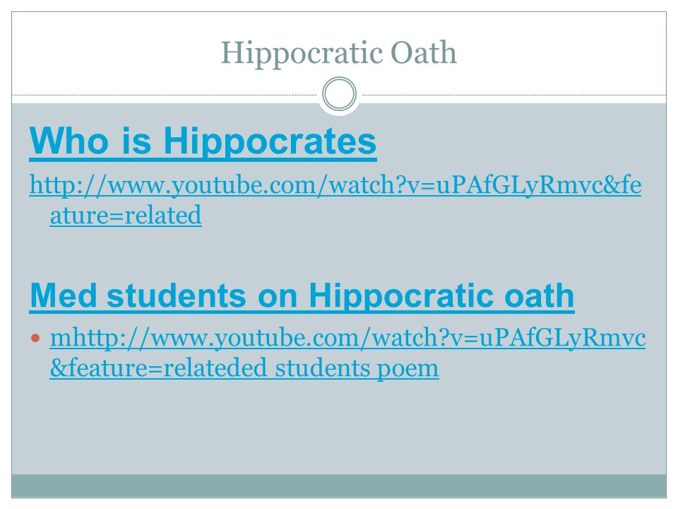 Who is Hippocrates Med students on Hippocratic oath Hippocratic Oath