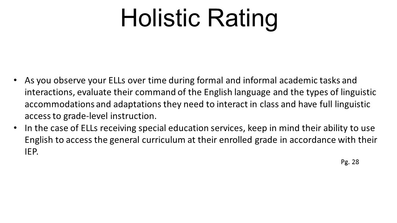 Holistic Rating