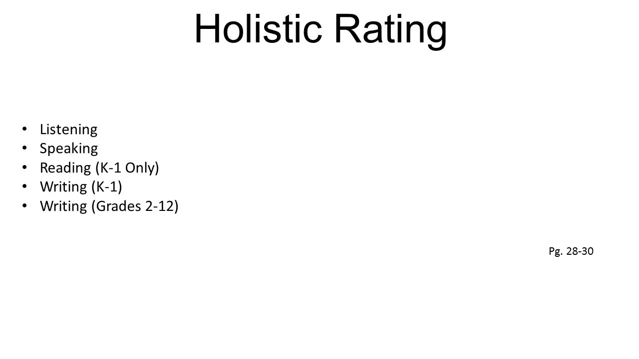Holistic Rating Listening Speaking Reading (K-1 Only) Writing (K-1)