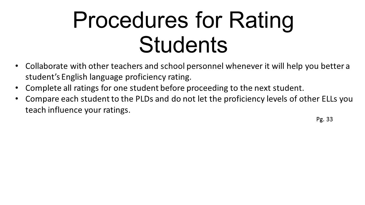 Procedures for Rating Students