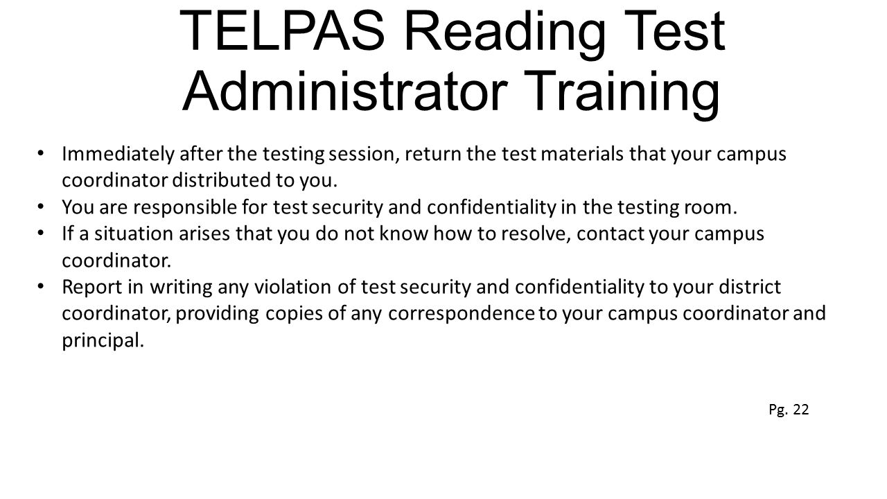 TELPAS Reading Test Administrator Training