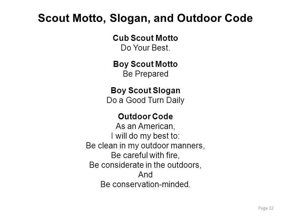 Scout Motto, Slogan, and Outdoor Code
