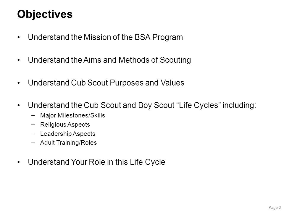 Objectives Understand the Mission of the BSA Program