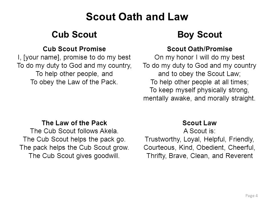 Scout Oath and Law Cub Scout Boy Scout