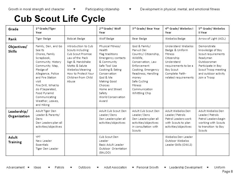 Cub Scout Life Cycle Grade Rank Objectives/ Skills