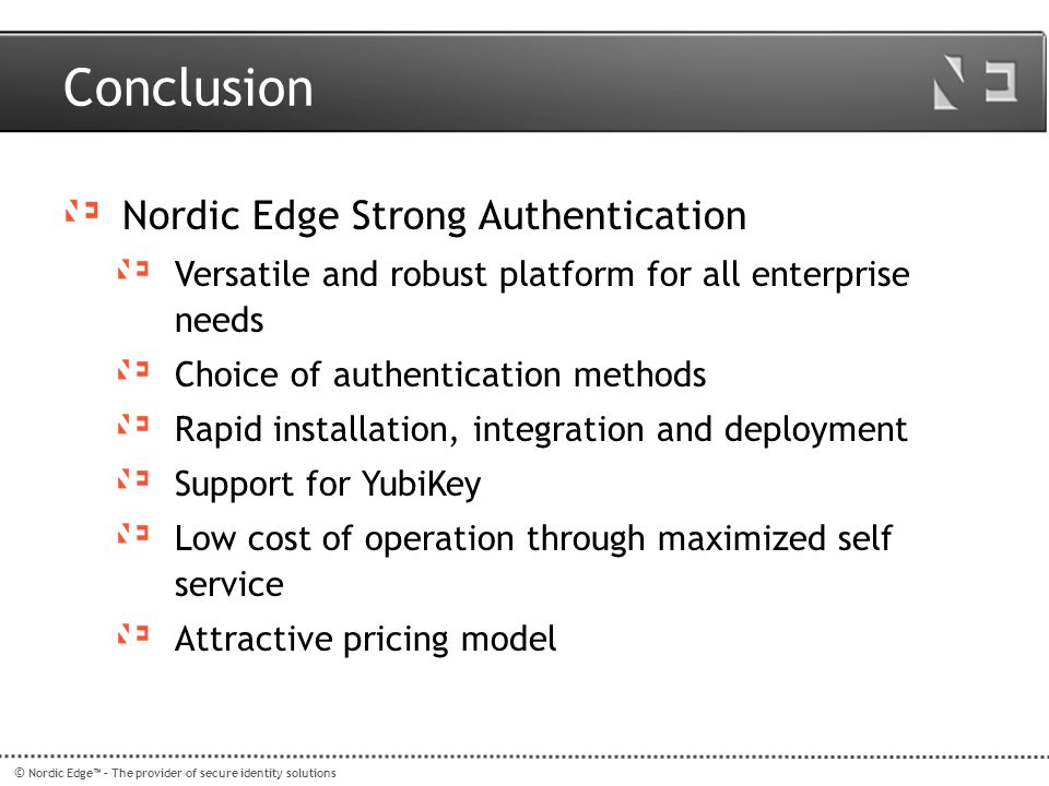 Conclusion Nordic Edge Strong Authentication