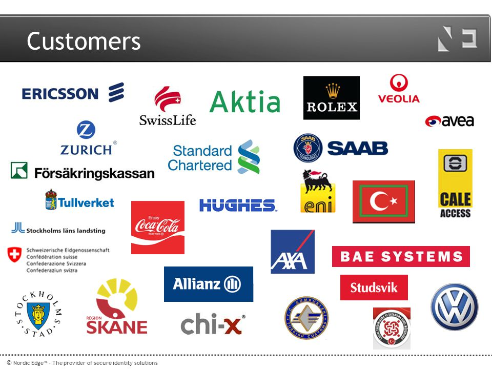 Customers © Nordic Edge™ – The provider of secure identity solutions