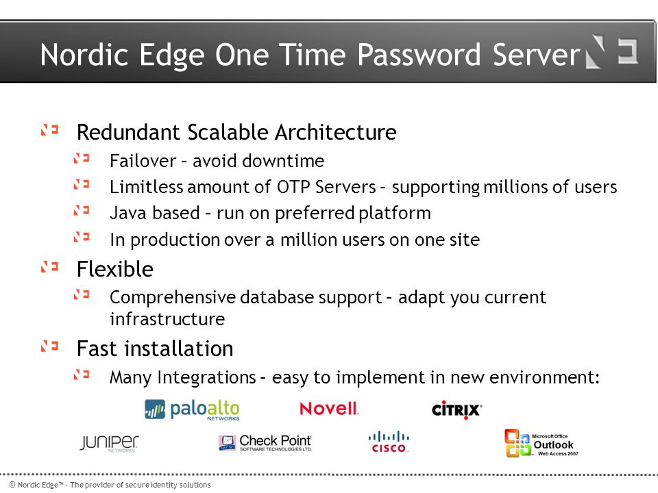 Nordic Edge One Time Password Server