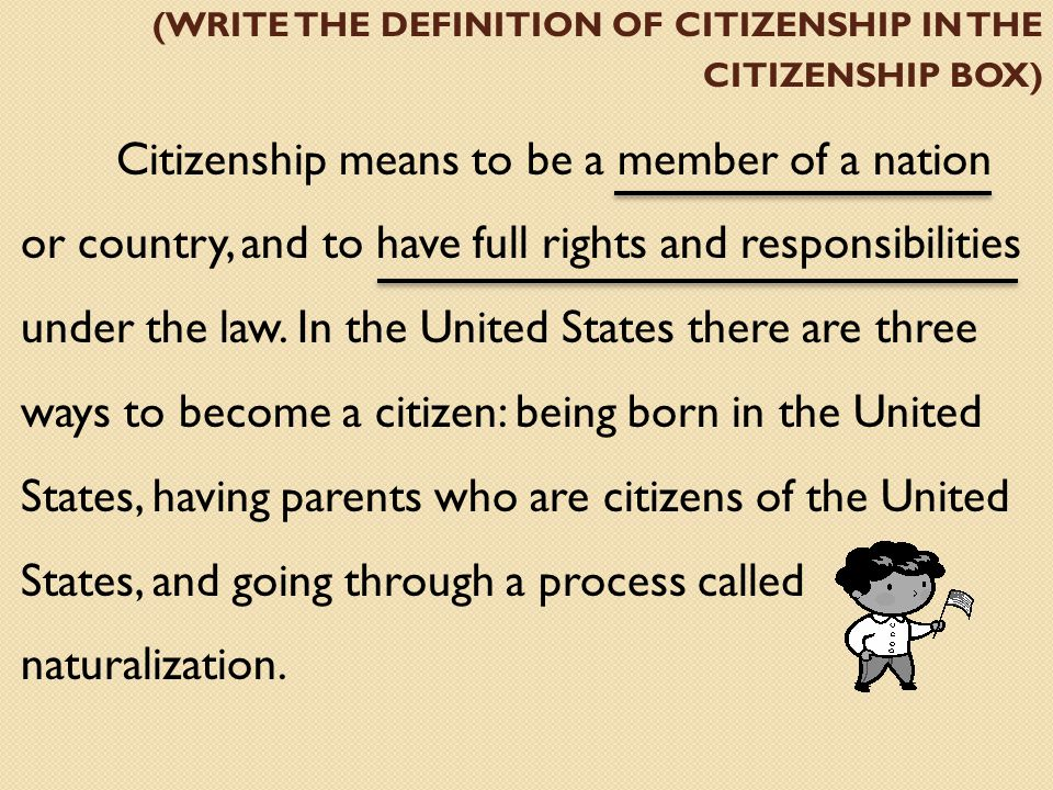 (write the definition of citizenship in the citizenship box)