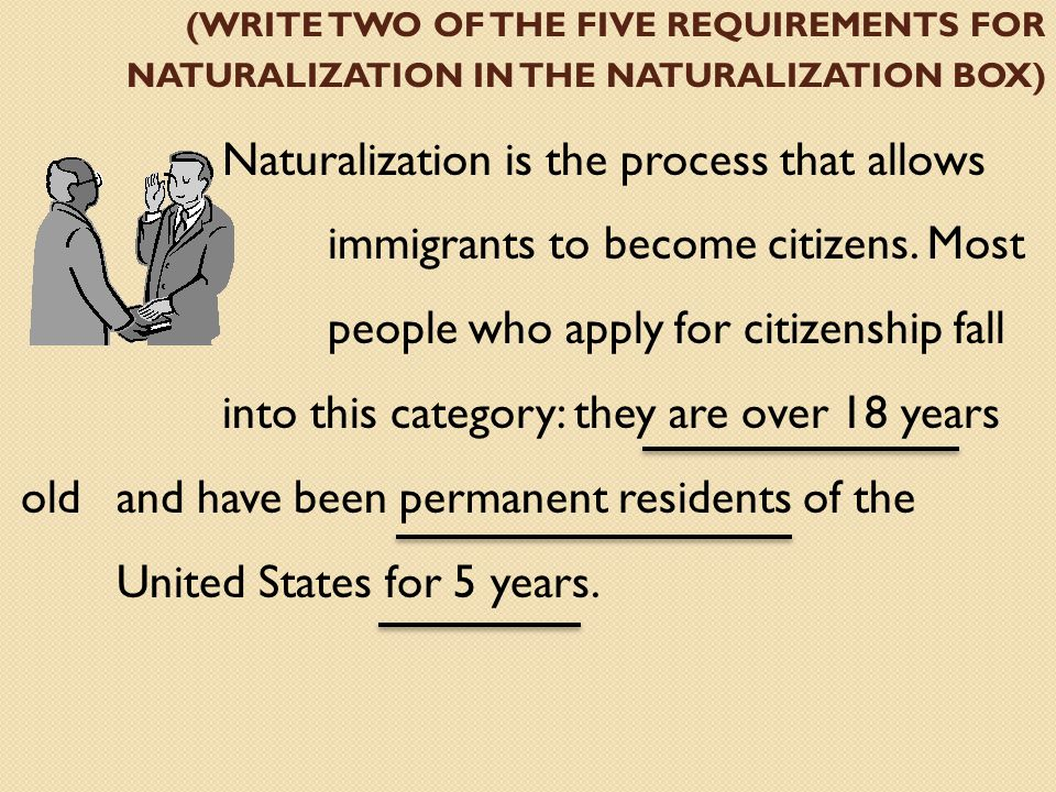 (write two of the five requirements for naturalization in the naturalization box)
