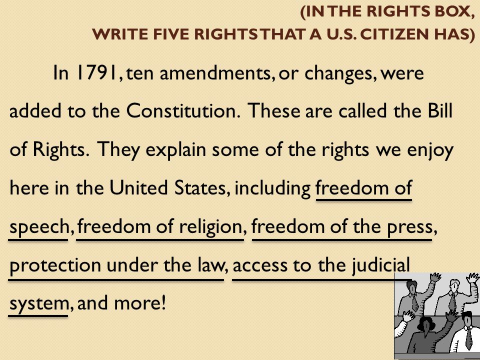 (in the rights box, write five rights that a U.S. citizen has)