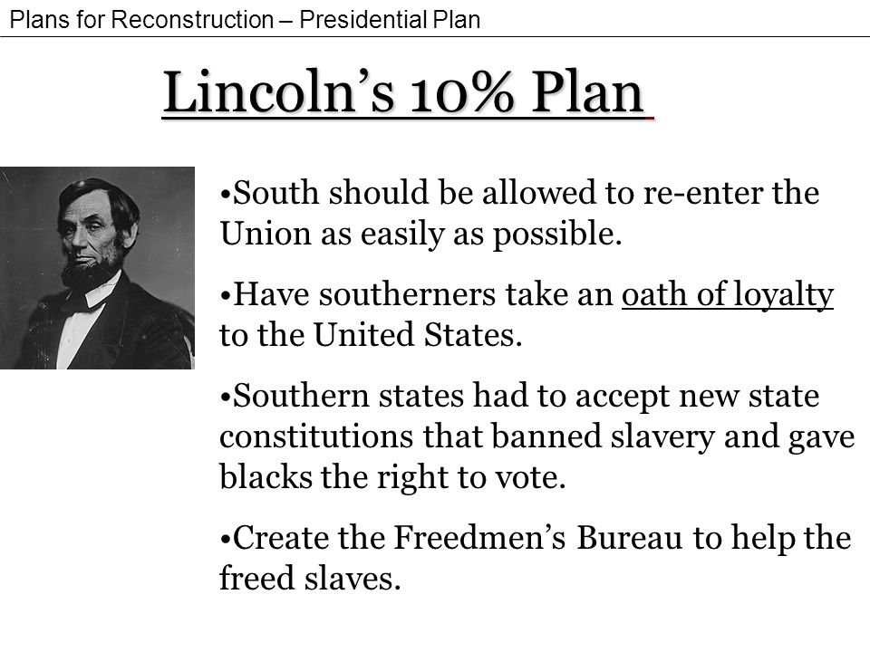 Plans for Reconstruction – Presidential Plan