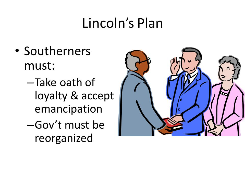Lincoln's Plan Southerners must: