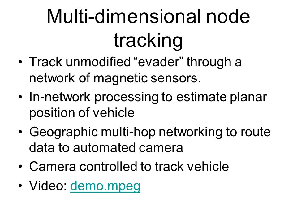 Multi-dimensional node tracking