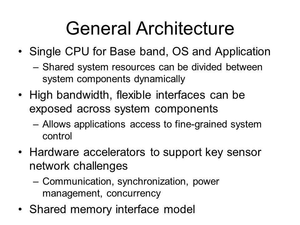 General Architecture Single CPU for Base band, OS and Application