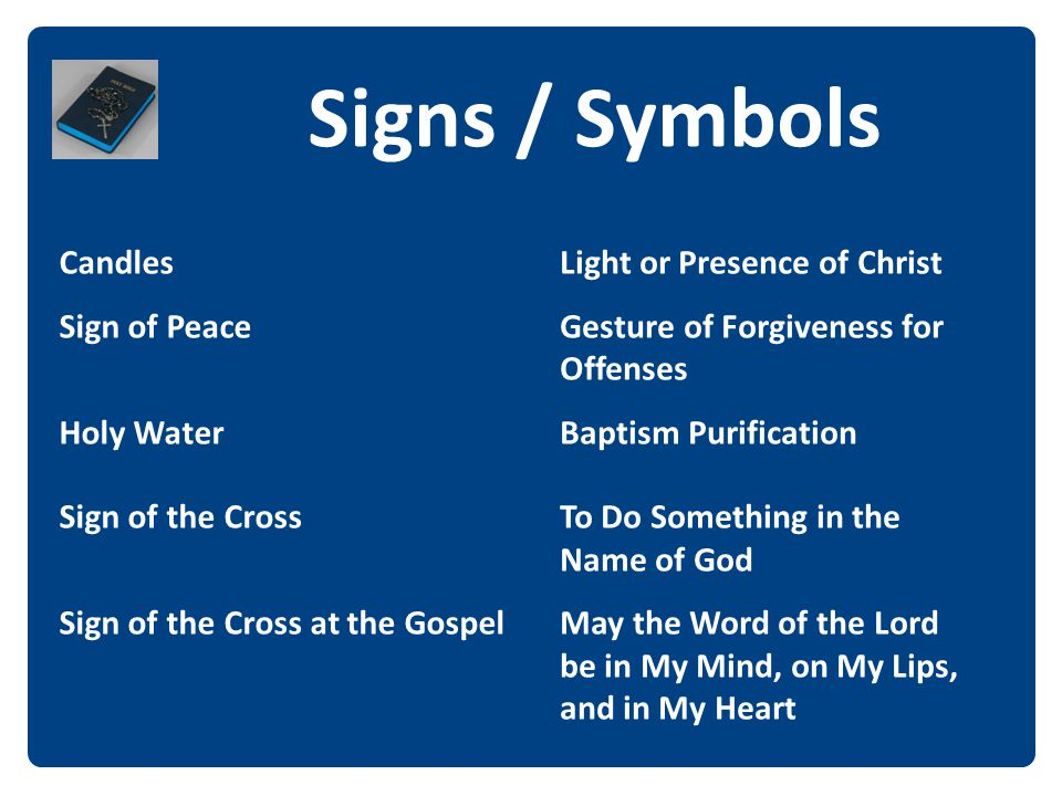 Signs / Symbols The Candles Sign of Peace Holy Water Sign of the Cross