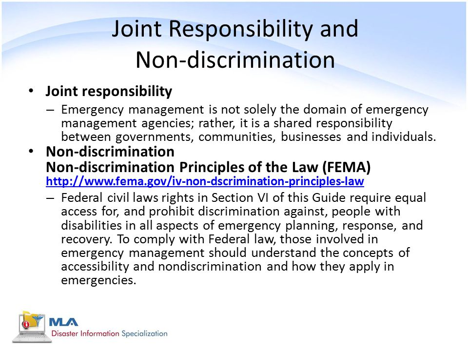Joint Responsibility and Non-discrimination