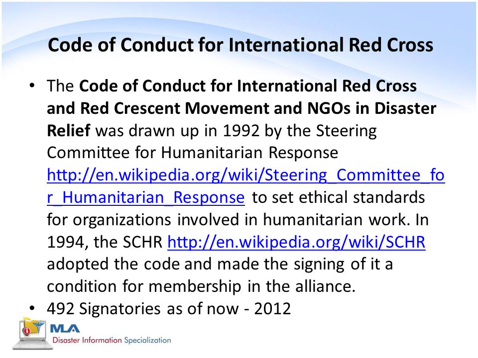 Code of Conduct for International Red Cross