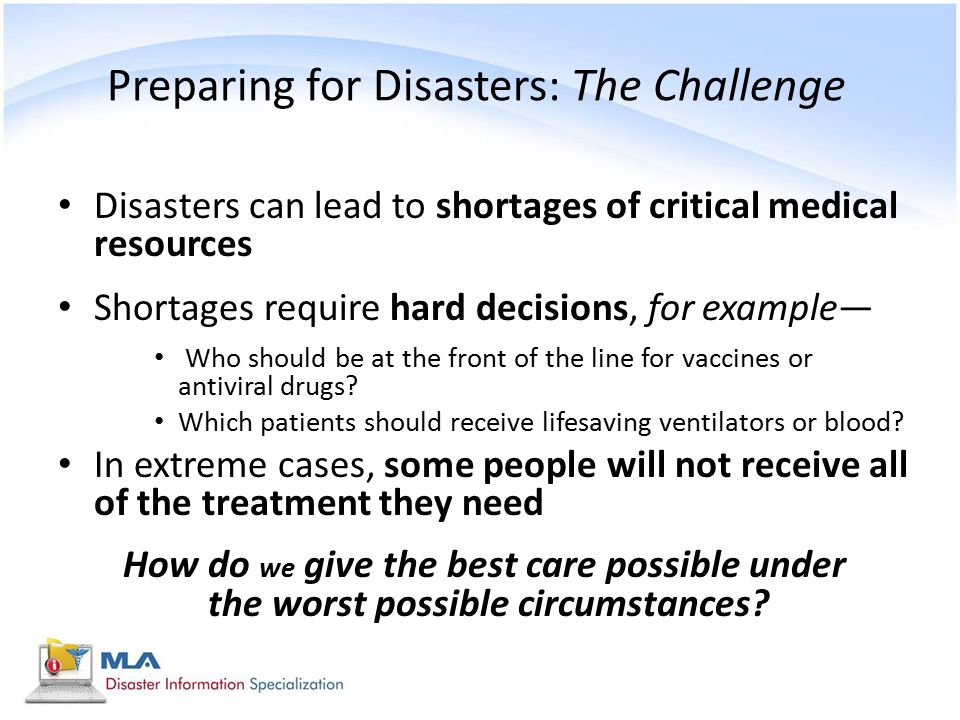 Preparing for Disasters: The Challenge