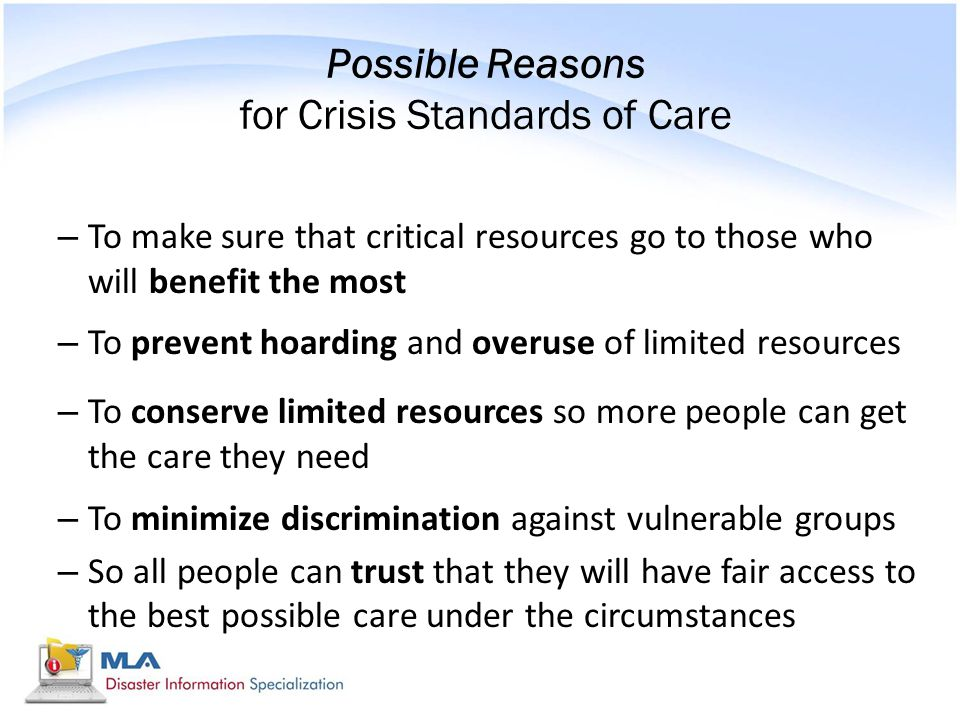 Possible Reasons for Crisis Standards of Care