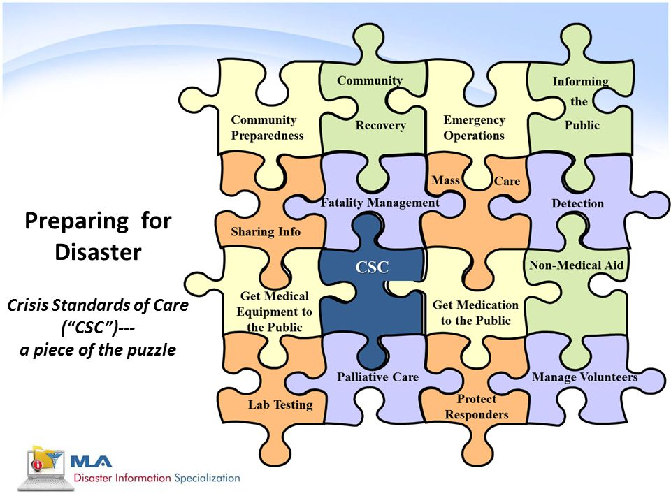 Preparing for Disaster Crisis Standards of Care ( CSC )--- a piece of the puzzle