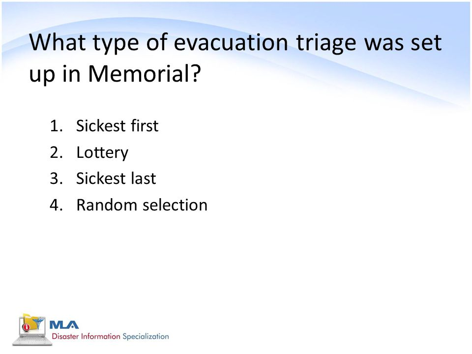 What type of evacuation triage was set up in Memorial