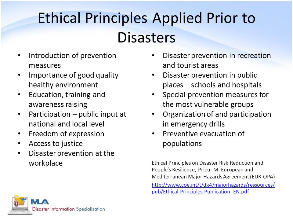 Ethical Principles Applied Prior to Disasters