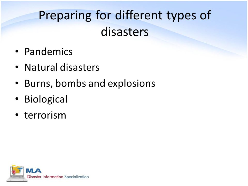Preparing for different types of disasters