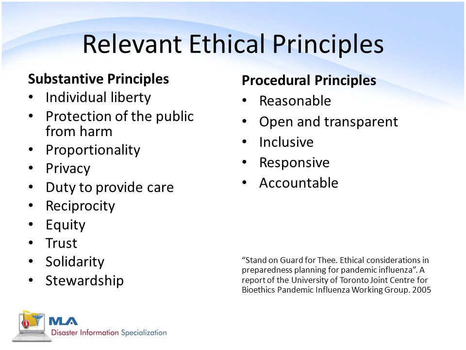 Relevant Ethical Principles