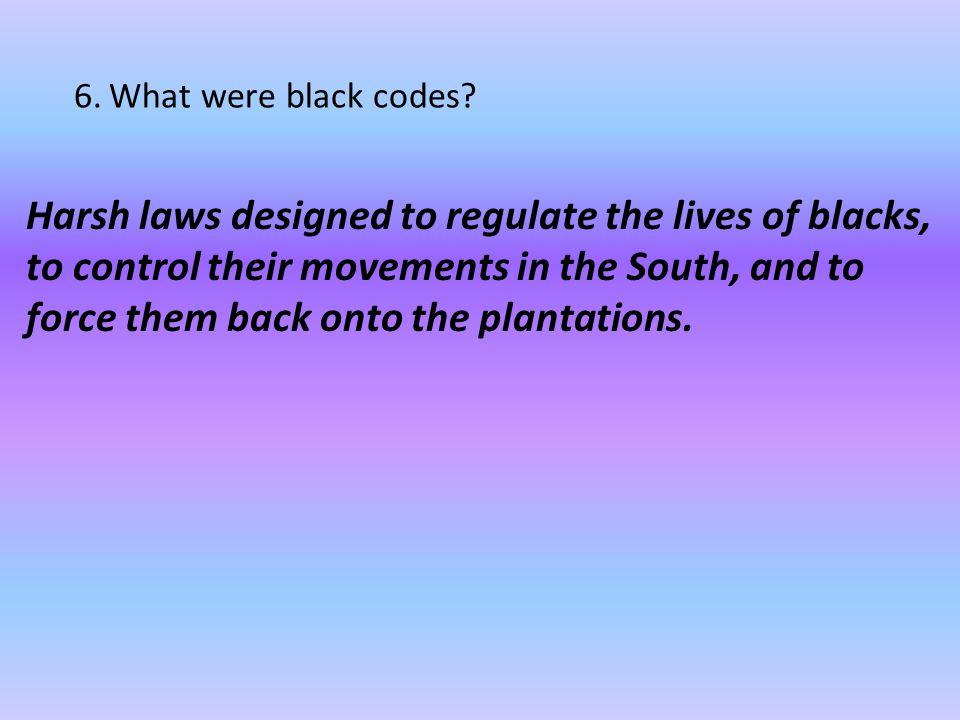 6. What were black codes