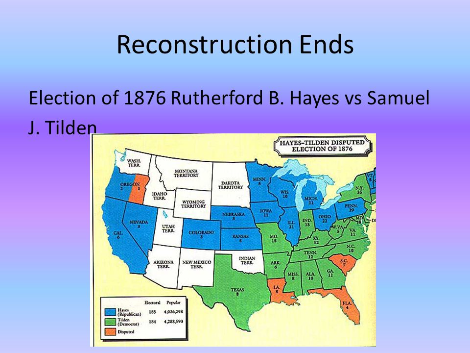 Reconstruction Ends Election of 1876 Rutherford B. Hayes vs Samuel