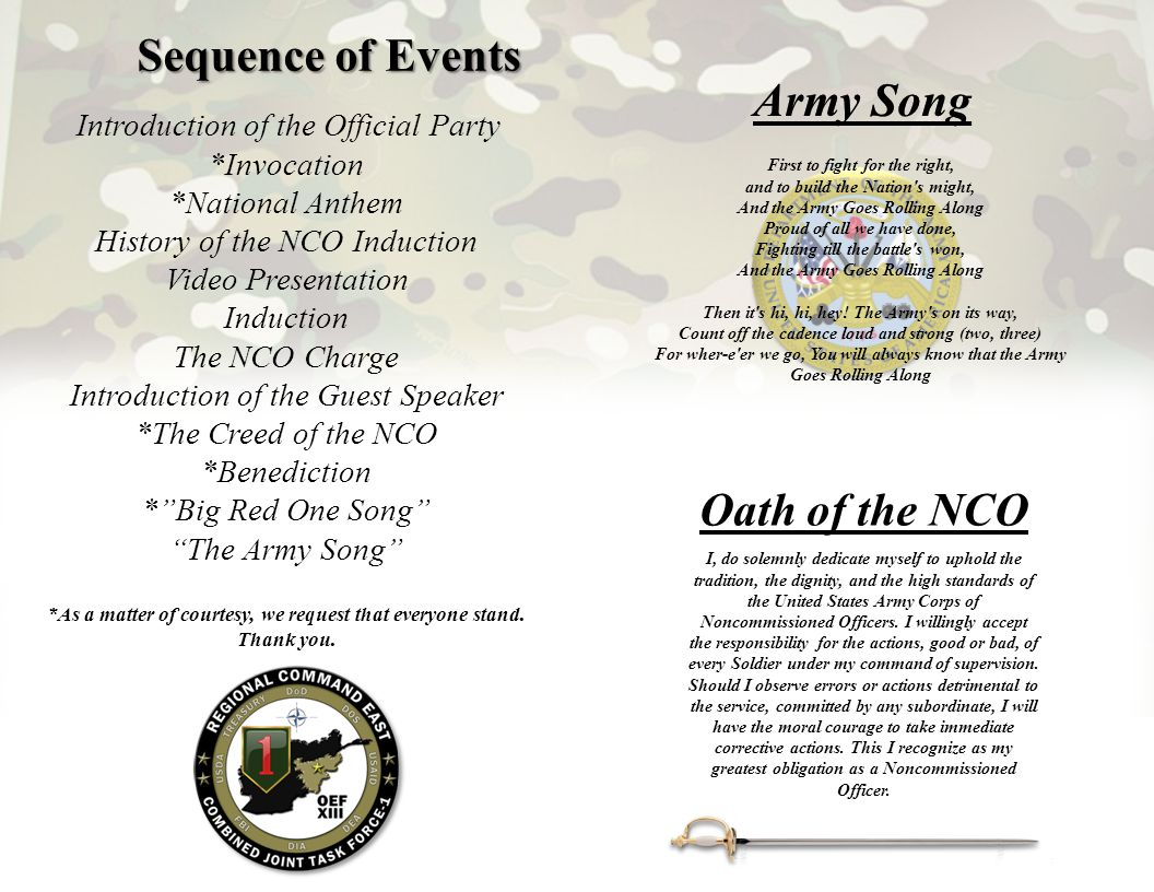 Sequence of Events Army Song Oath of the NCO