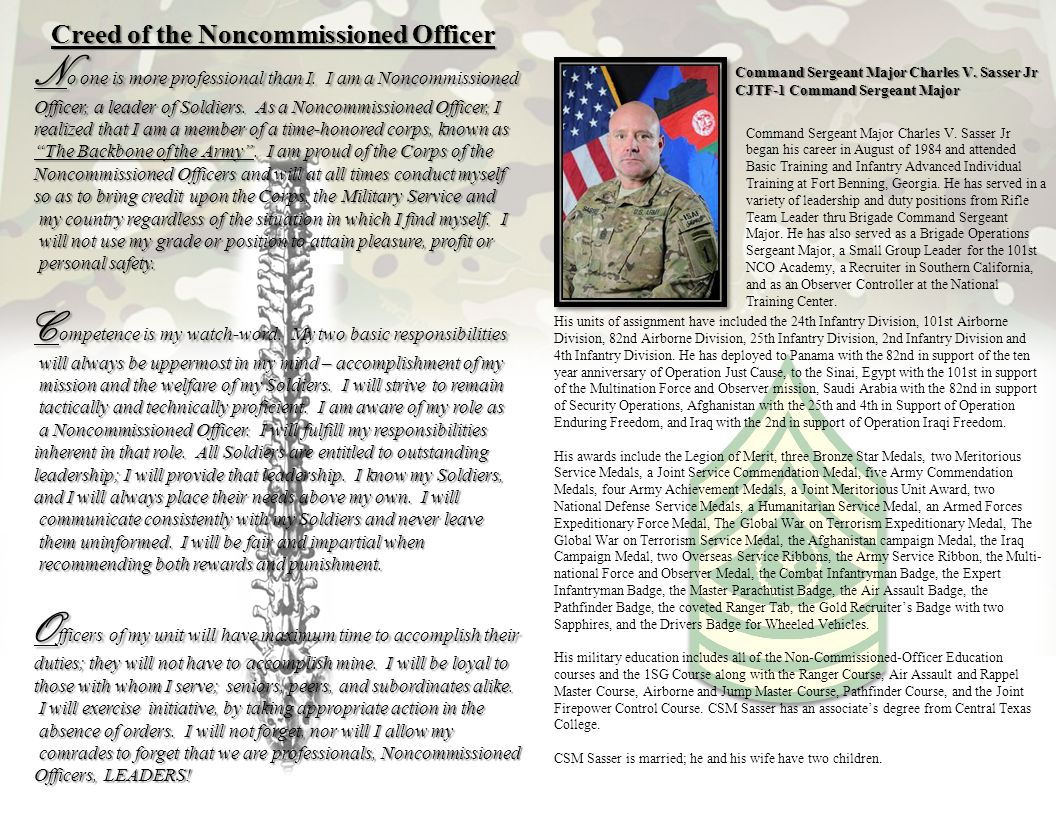 Creed of the Noncommissioned Officer
