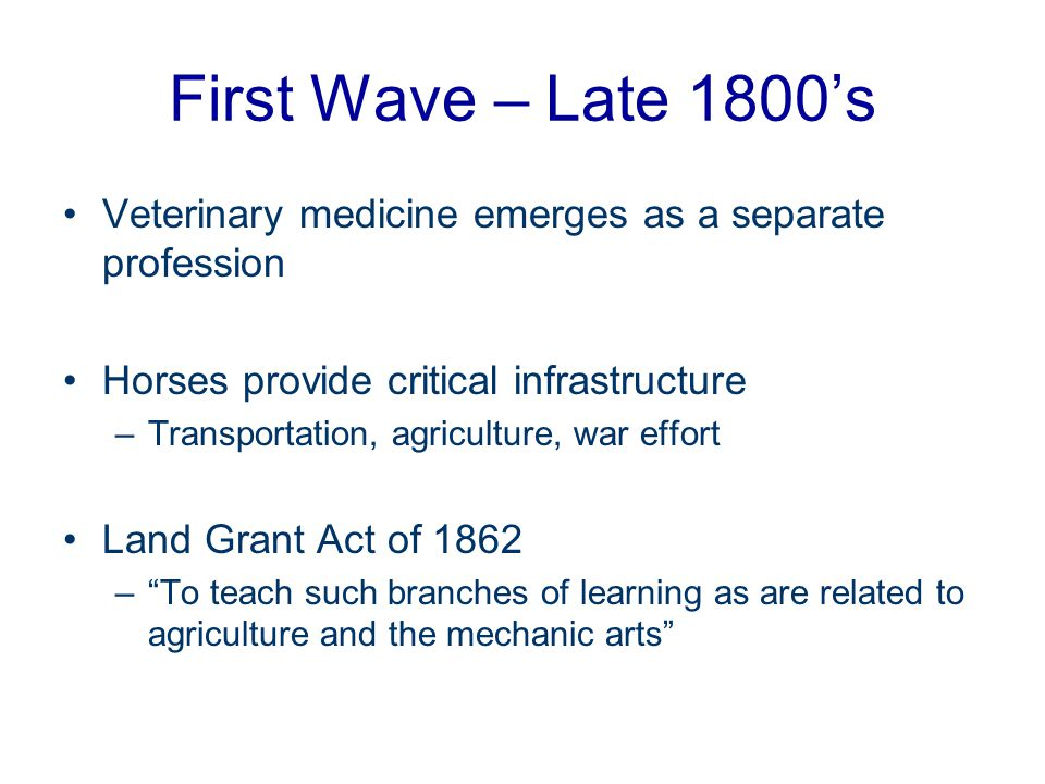 First Wave – Late 1800's Veterinary medicine emerges as a separate profession. Horses provide critical infrastructure.