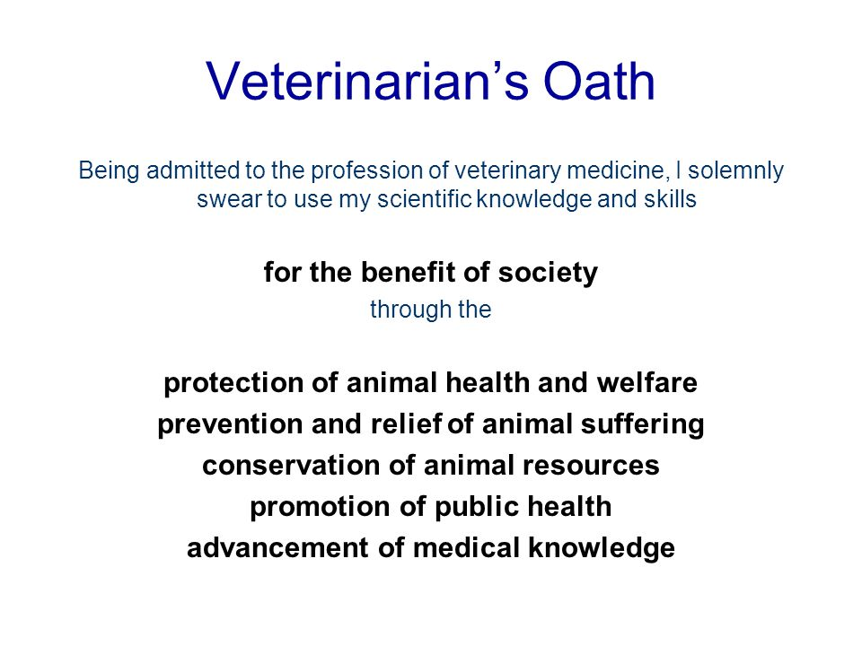 Veterinarian's Oath for the benefit of society