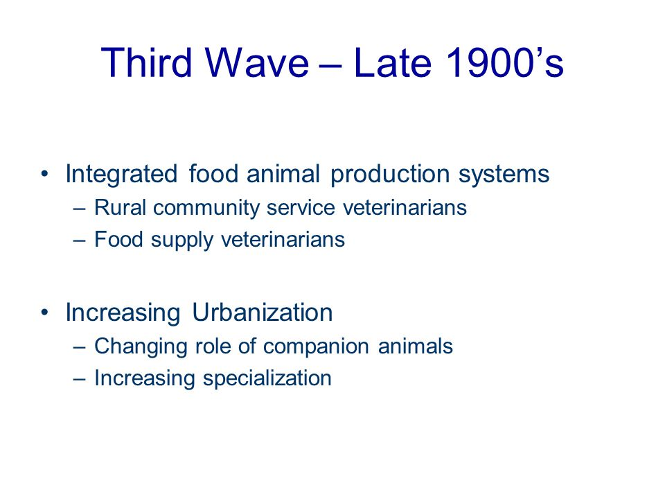 Third Wave – Late 1900's Integrated food animal production systems
