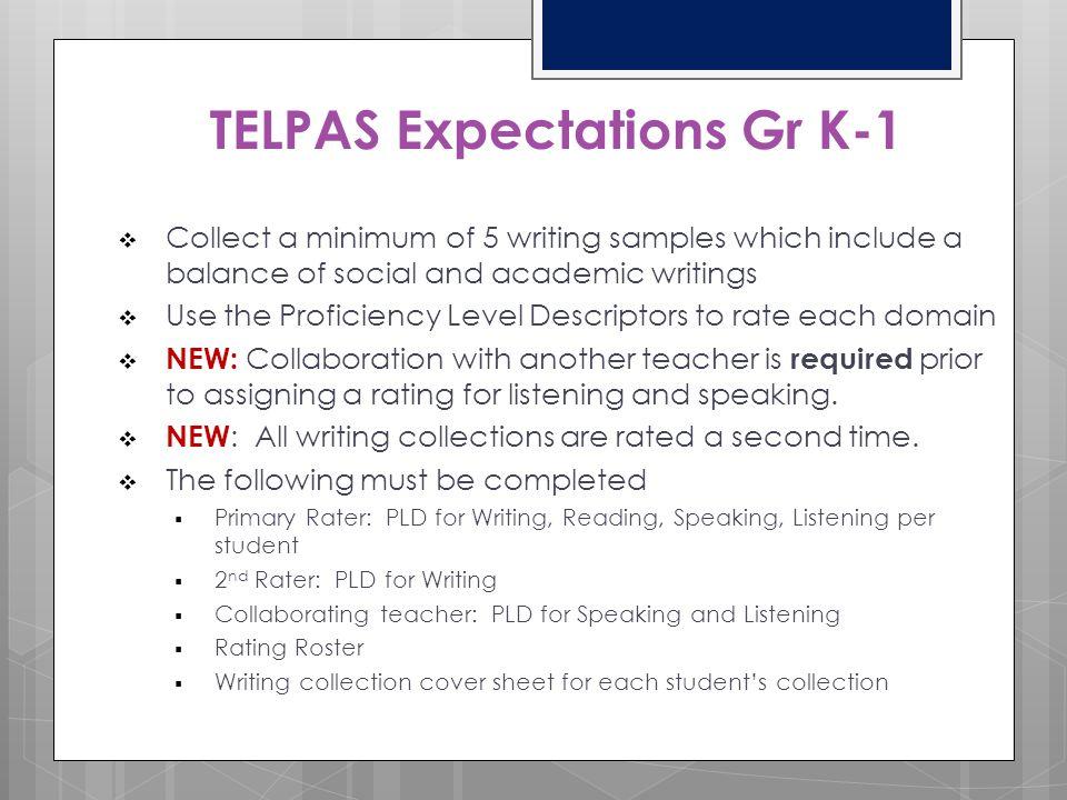 TELPAS Expectations Gr K-1