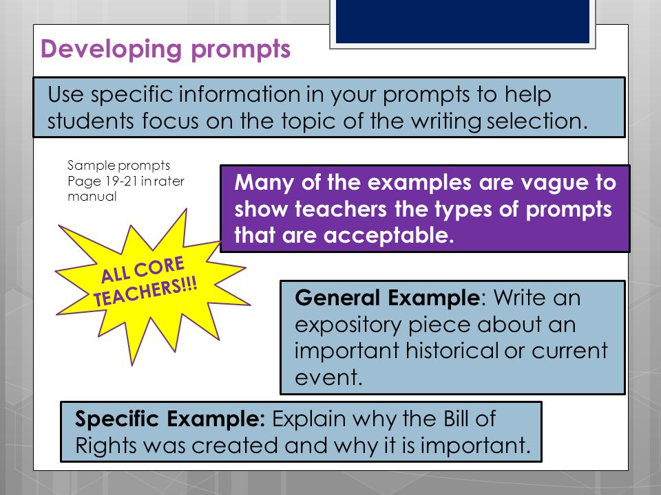 Developing prompts Use specific information in your prompts to help students focus on the topic of the writing selection.