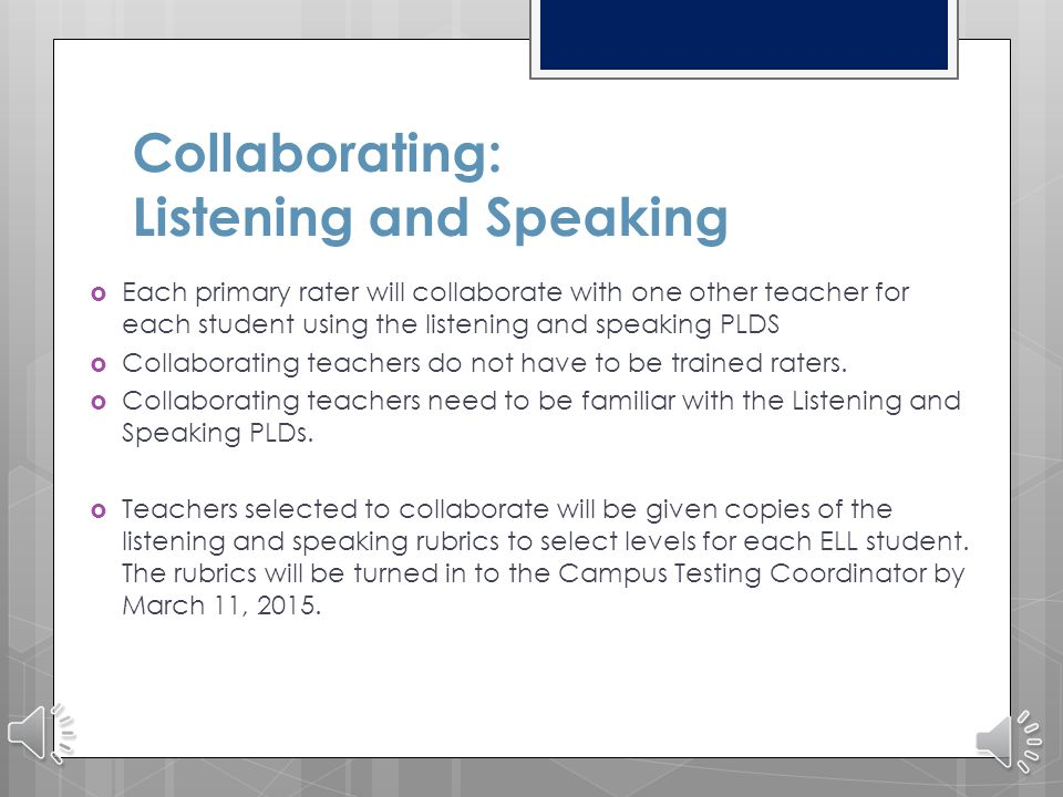 Collaborating: Listening and Speaking