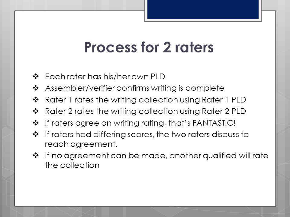 Process for 2 raters Each rater has his/her own PLD