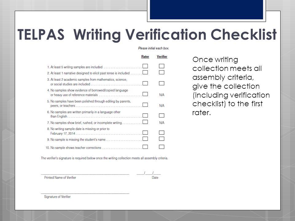 TELPAS Writing Verification Checklist