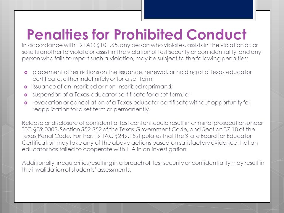Penalties for Prohibited Conduct