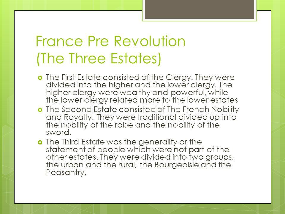 France Pre Revolution (The Three Estates)