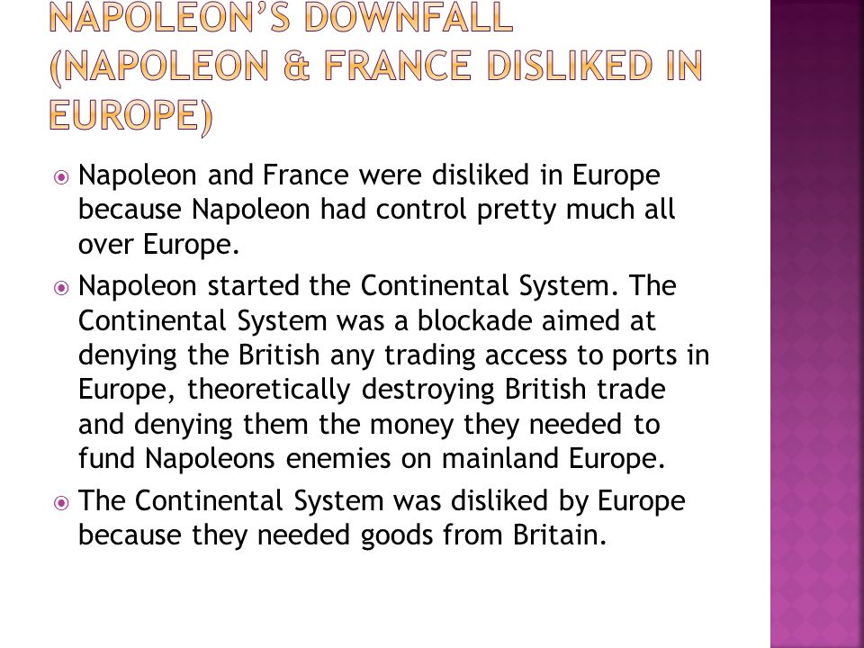 Napoleon's Downfall (Napoleon & France disliked in Europe)